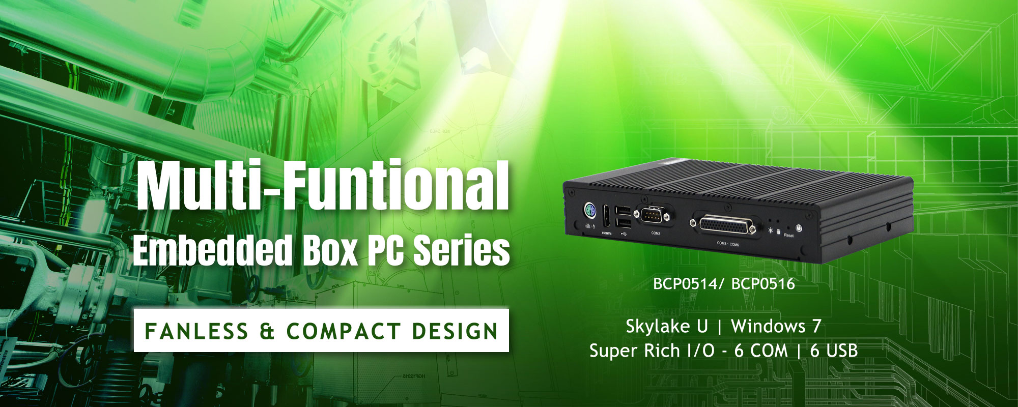 Multi-Funtional Embedded Box PC Series, BCP0514, BCP0516